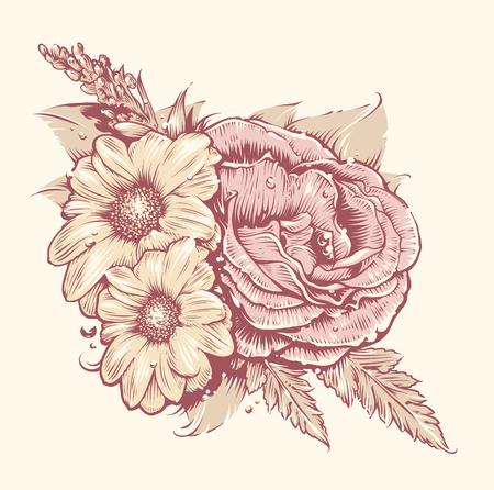 Flores del vector. Rose y la manzanilla con las hojas. arte flores de estilo antiguo. Ilustración floral de la vendimia.