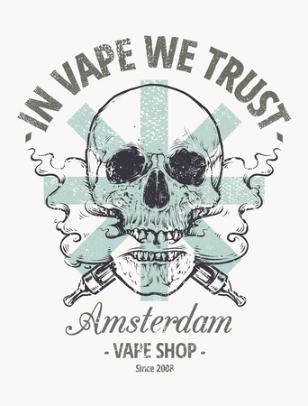 In Vepe We Trust. Vape shop emblem. Vaping Skull Art vector illustration. Skull with steam coming out from mouth. Ilustracja