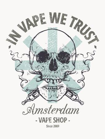 Vepe We Trust. Vape shop 엠블렘. Vaping 해골 아트 벡터 일러스트 레이 션. 입에서 나오는 증기와 두개골.
