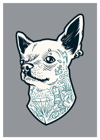 Tattooed Chihuahua dog. Vector art of dog with old school tattoos and piercing. Little brave hipster pet.