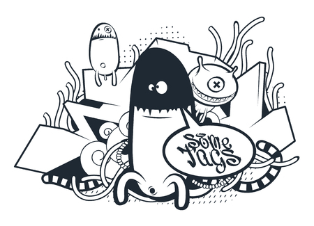 Graffiti Doodle Art. Vector doodle characters with speech bubble for your text. Graffiti style doodles. Bizarre funny monsters. Фото со стока - 75188977