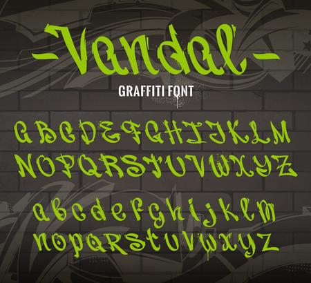 vandal: Vandal Graffiti Font. Set of graffiti style letters on brick wall background with abstract graffiti arrows. Vector alphabet. Old school graffiti glyphs. Illustration