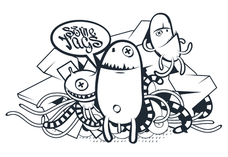 freaky: Graffiti Doodle Art. Vector doodle characters with speech bubble for your text. Graffiti style doodles. Bizarre funny monsters.