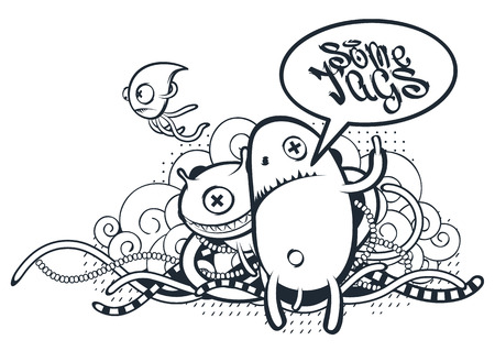 Graffiti Doodle Art. Vector doodle characters with speech bubble for your text. Graffiti style doodles. Bizarre funny monsters.