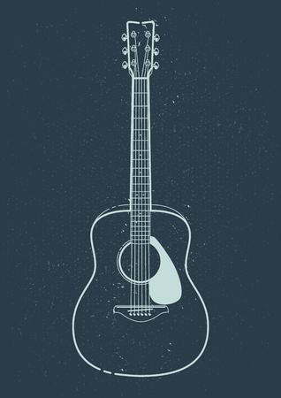 アコースティック ギターのベクトル。スタイル ギター芸術の概要を説明します。  イラスト・ベクター素材