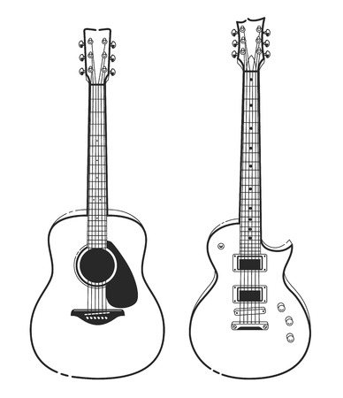 Electric and Acoustic Guitars. Outline style guitars vector art. Vettoriali