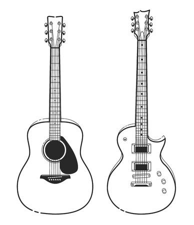 Elektrische en akoestische gitaren. Overzicht stijl gitaren vector kunst. Stock Illustratie