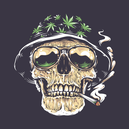 Rastaman Skull vector art. Skull in hat with cannabis leafs and in suglasses holds smoking joint in his mouth. Vector art.