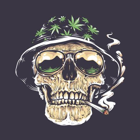Rastaman Cráneo arte vectorial. Cráneo en sombrero con hojas de cannabis y en anteojos sostiene fumar en la boca. Vector art. Foto de archivo - 75684672