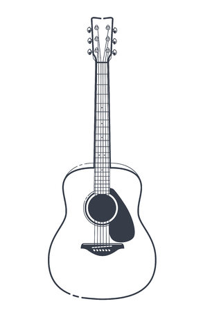 Acoustic Guitar Vector. Outline style guitar art.