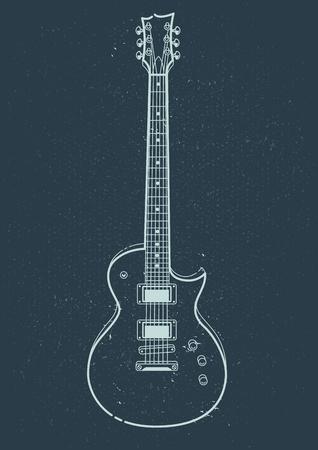Electric Guitar Vector. Outline style guitar art. Vektoros illusztráció
