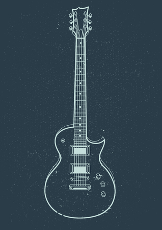 Electric Guitar Vector. Outline style guitar art.