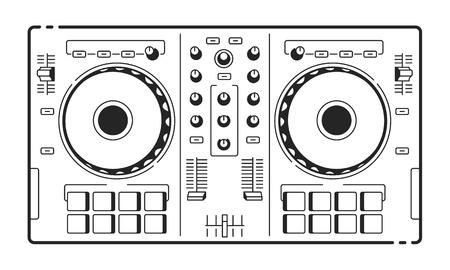 DJ는 USB 컨트롤러. 미디 턴테이블의 벡터 아트입니다. 라인 아트. 일러스트