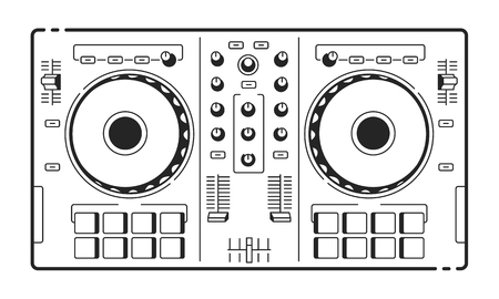 DJ Usb Controller. Vector art of midi turntable. Line art. 矢量图像