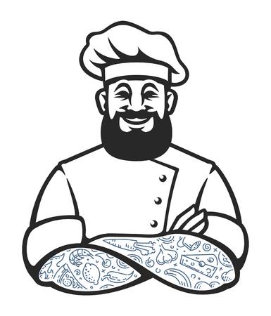 Uśmiechnięta kucharz hipster z brodą i tatuażami w ramionach przekroczył stwarzają. Stylowe szefa kuchni gotować sztuki na białym. Ilustracji wektorowych.