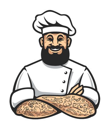 Chef hipster souriant avec de la barbe et des tatouages ??dans les bras croisés pose. Élégant chef cuisinier l'art isolé sur blanc. Illustration vectorielle.