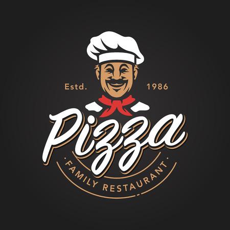 Pizza emblem design with smiling chef. Pizzeria vector logo template on black background. Vector emblem for cafe, restaurant or food delivery service. Illustration