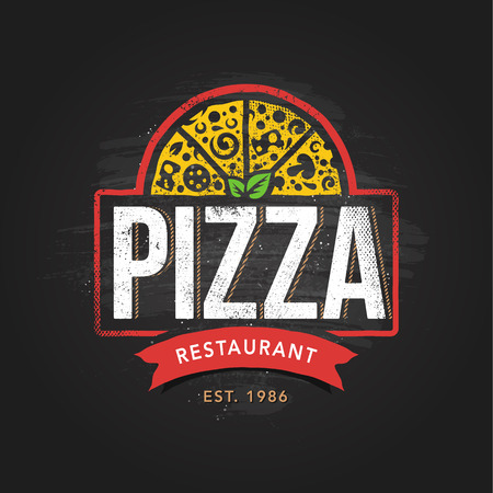 Pizza Vector Emblem. Pizzeria logo template. Pizza vector typography. Vector emblem for cafe, restaurant or food delivery service.