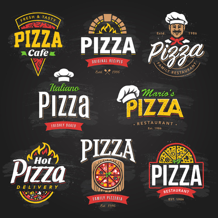 Vector collection of Pizza emblems, badges, elements and icons. Pizzeria cafe, restaurant or delivery logo templates. Food icons set on blackboard.