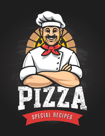 Pizza emblem design with smiling chef in crossed arms pose. Pizzeria vector logo template on blackboard. Vector emblem for cafe, restaurant or food delivery service.