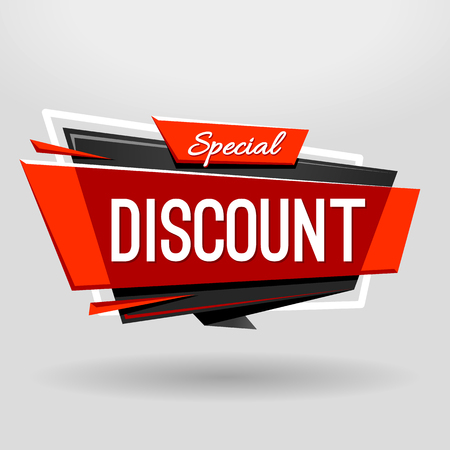 Discount geometric banner design template. Material design style translucent banner with plastic elements. Vector illustration.
