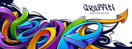 Horizontal background with abstract graffiti arrows. Vibrant colors 3D graffiti arrows on white background.