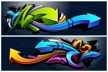 Dos pancartas horizontales con flechas abstractas de graffiti. Colores vibrantes 3D flechas de graffiti sobre fondo oscuro grunge. Ilustración de vector