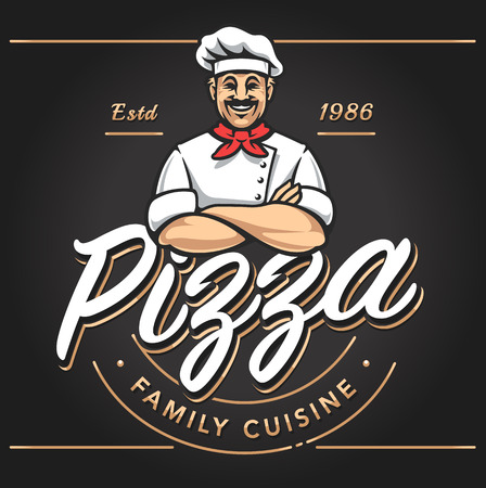 Pizzeria emblem design with smiling chef. Pizzeria vector logo template on black background. Vector emblem for cafe, restaurant or food delivery service. Stock Illustratie