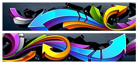 Two horizontal banners with abstract graffiti arrows. Иллюстрация