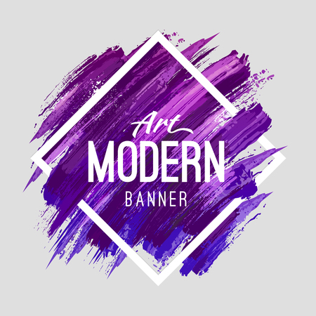 Modern art abstract banner. Vector square frame for text with blue and purple paintbrush lines.
