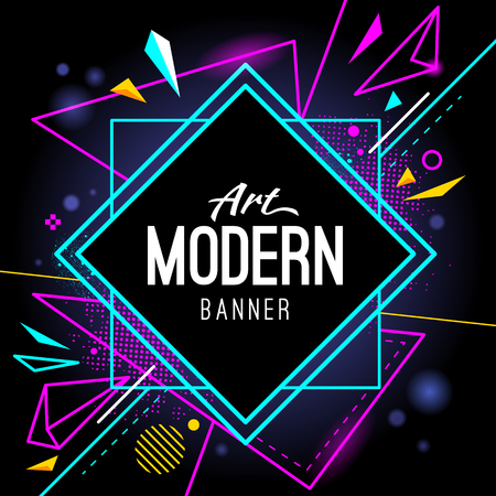 Modern style abstract banner with bright neon lines and frame for headline. Vector background. Imagens - 79242958