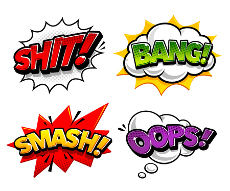 Retro comic speech bubbles with expression tags Shit, Bang, Smash, Oops. Bright dynamic pop art design elements.