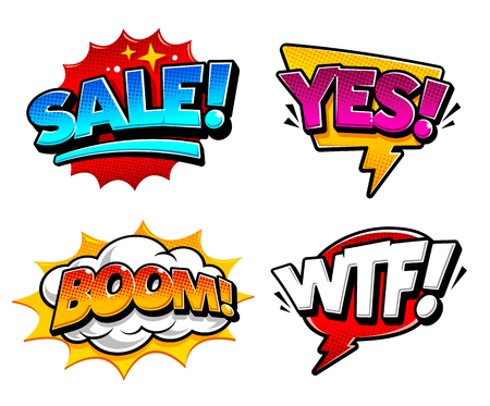 Retro comic speech bubbles with expression tags Sale, Yes, Boom and Wtf. Bright dynamic pop art design elements. Illustration