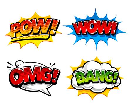 Retro komische tekstballonnen met geluidseffecten Pow, Bang. En expressie-tags zoals Omg en Wow.