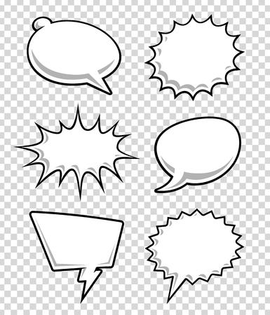 漫画の吹き出しには透明の背景に。本文漫画雲。ベクトルの図。  イラスト・ベクター素材