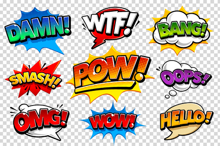 Set of vector comic speech bubbles on transparency background. Bright dynamic pop art design elements. Funny sound effects and expression words. Иллюстрация