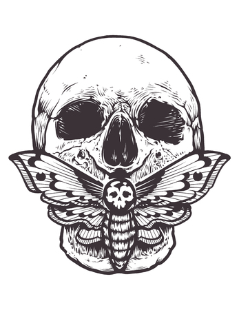 Skull with a moth on mouth. Stock Illustratie