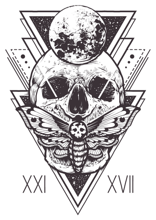 Projekt boho wektor czaszki z ćmy jastrzębia i świętych elementów geometrycznych, trójkąty hipster, mistyczne symbole.