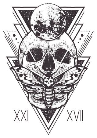 Projeto de boho vector de caveira com traça de Falcão e elementos geométricos sagrados, triângulos hipster, símbolos místicos.