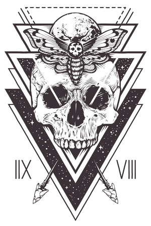 Vector boho design of skull with hawk moth and sacred geometric elements, arrows, hipster triangles, mystical symbols. Çizim