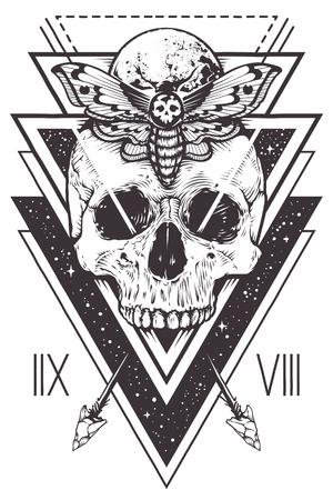 Vectorbohoontwerp van schedel met haviksmot en heilige geometrische elementen, pijlen, hipster driehoeken, mystieke symbolen.