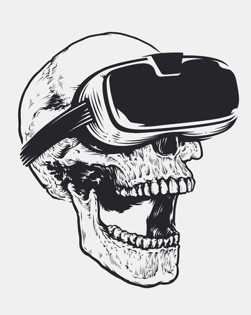 Skull in VR Glasses. Hand drawn illustration of skull with virtual reality device. Open mouth experiencing emotions. Illustration