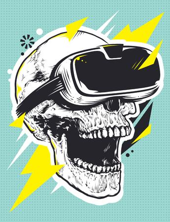 Schedel in VR Glasses Pop Art. Pop-art illustratie van de schedel met virtuele realiteit apparaat. Stock Illustratie