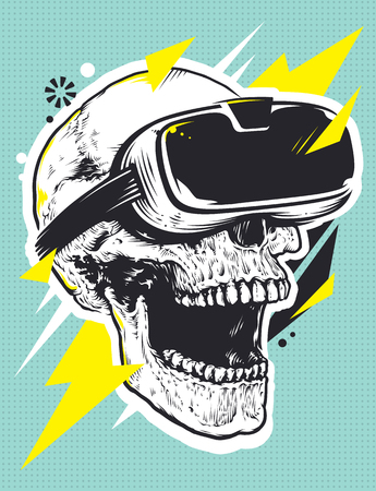 Skull in VR Glasses Pop Art. Pop art illustration of skull with virtual reality device. Illustration
