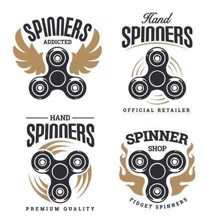 手紡績ベクトル エンブレムをいじくりまわします。スピナーのショップのロゴのテンプレート。