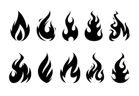 벡터 불꽃입니다. 흰색 배경에 다른 화재 셰이프 집합입니다. 일러스트