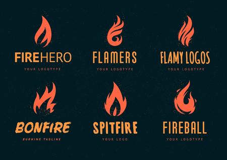 화재 기호로 로고 디자인의 집합입니다. 다른 화재 셰이프와 벡터 로고 템플릿입니다. 화재와 복고 스타일 logotypes입니다.