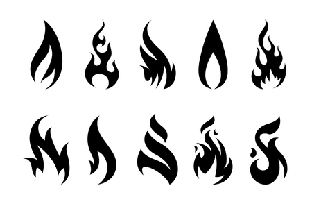 Set of different fire shapes on white background.