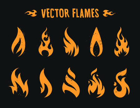 Vector Flames. Set of different fire shapes on black background.