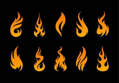 ベクター炎。黒の背景に別の火災の図形をセットします。